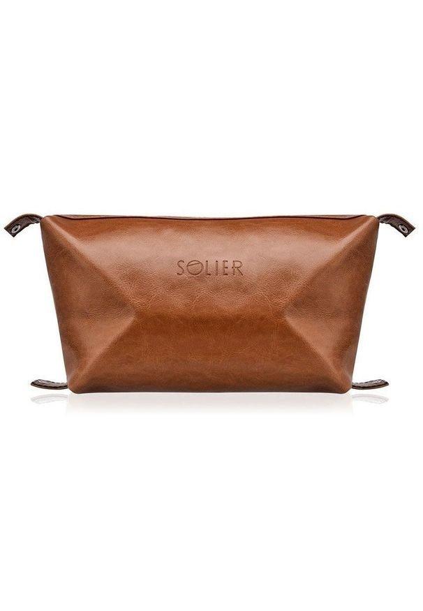 Solier - Elegancka skórzana kosmetyczka męska SOLIER brązowa. Kolor: brązowy. Materiał: skóra. Wzór: gładki