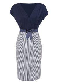Sukienka z dżerseju bonprix niebiesko-biały w paski. Typ kołnierza: kokarda. Kolor: niebieski. Materiał: jersey. Wzór: paski