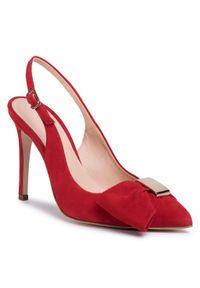 Czerwone sandały Eva Minge z aplikacjami, eleganckie
