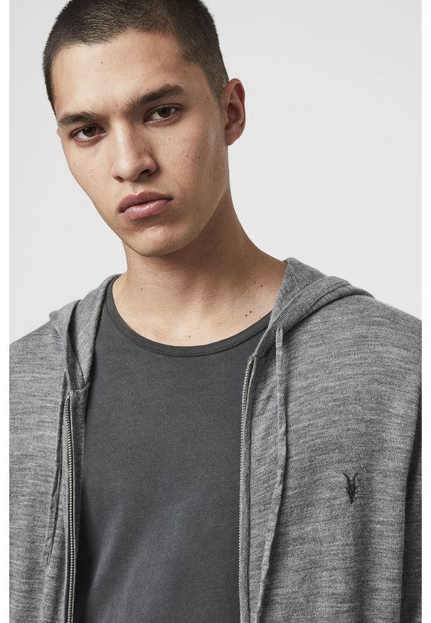 Szara bluza rozpinana AllSaints casualowa, na co dzień, z kapturem