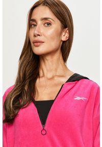Różowa bluza Reebok z długim rękawem, z kapturem