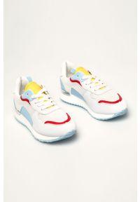 Białe buty sportowe ANSWEAR na sznurówki, na średnim obcasie, na obcasie, z cholewką
