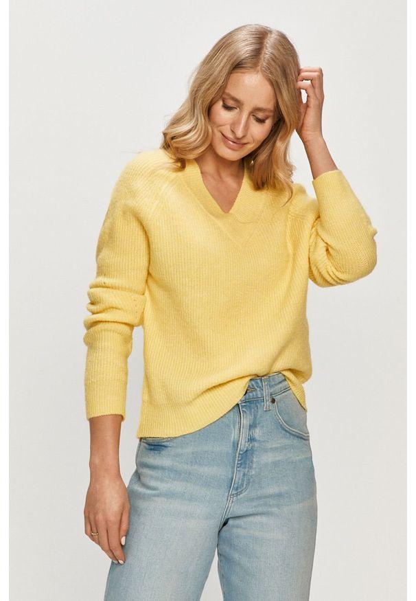 Żółty sweter Jacqueline de Yong casualowy, długi, gładki