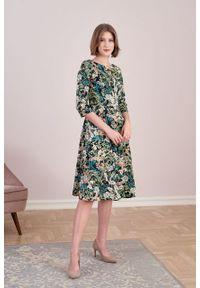Marie Zélie - Sukienka Galatea Aureus zielona. Kolor: zielony. Materiał: bawełna, wiskoza, materiał, elastan, skóra