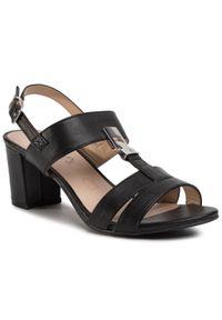 Czarne sandały Caprice casualowe, z aplikacjami, na co dzień