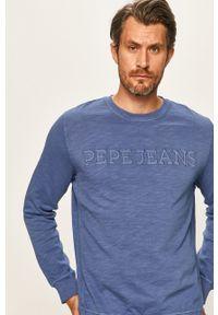 Niebieska bluza nierozpinana Pepe Jeans z nadrukiem, z okrągłym kołnierzem, casualowa