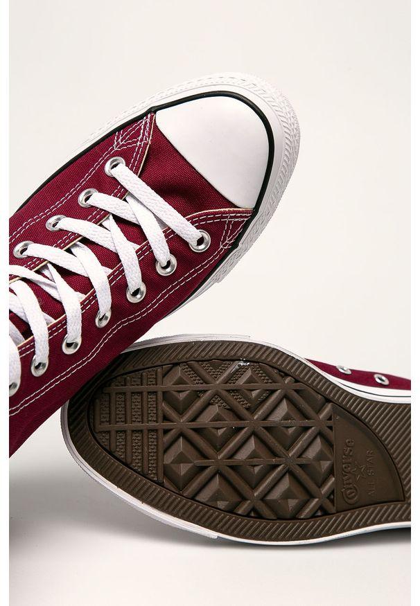 Brązowe wysokie trampki Converse na sznurówki, z cholewką, z okrągłym noskiem