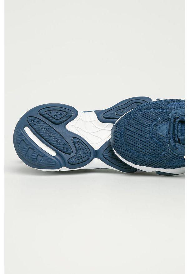 Turkusowe buty sportowe adidas Originals na sznurówki, z cholewką