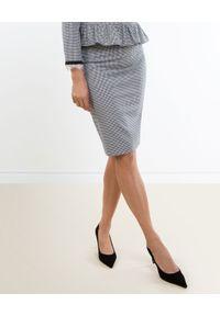CATERINA - Szara spódnica ołówkowa w pepitkę. Kolor: szary. Materiał: żakard, materiał, bawełna. Wzór: gładki