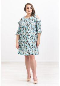 Miętowa sukienka Moda Size Plus Iwanek casualowa, w kwiaty, na imprezę