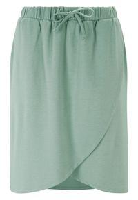 Spódnica shirtowa z założeniem kopertowym bonprix dymny zielony. Kolor: zielony