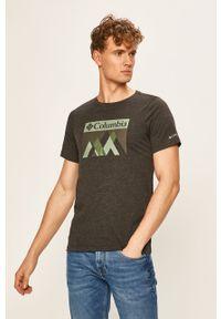 Szary t-shirt columbia na co dzień, z nadrukiem, casualowy