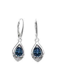 Polcarat Design - Srebrne oksydowane kolczyki z kryształami Swarovski K 2030. Materiał: srebrne. Kolor: srebrny. Wzór: aplikacja. Kamień szlachetny: kryształ