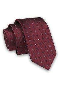 Bordowy Elegancki Męski Krawat -Angelo di Monti- 6 cm, w Drobne Niebiesko-Granatowe Kwiatki. Kolor: niebieski, czerwony, wielokolorowy. Materiał: tkanina. Wzór: kwiaty. Styl: elegancki