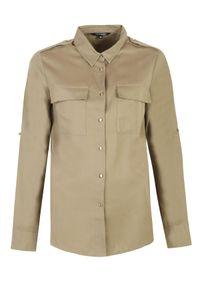 TOP SECRET - Koszula z podwijanymi rękawami. Okazja: na co dzień, do pracy. Kolor: brązowy. Długość rękawa: długi rękaw. Długość: długie. Sezon: wiosna. Styl: casual