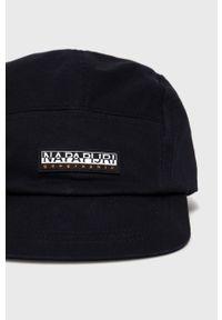 Czarna czapka z daszkiem Napapijri z aplikacjami