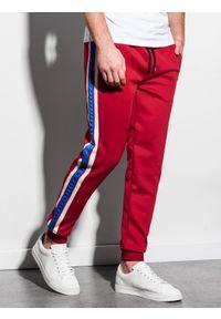 Czerwone spodnie Ombre Clothing w kolorowe wzory, retro
