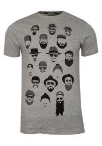 Brave Soul - Szary T-Shirt (Koszulka) z Nadrukiem -BRAVE SOUL- Męski, Okrągły Dekolt, Twarze, Brodacz, Barber. Okazja: na co dzień. Kolor: szary. Materiał: bawełna, wiskoza. Wzór: nadruk. Styl: casual