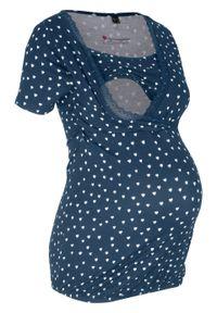 Shirt ciążowy i do karmienia, z koronką bonprix ciemnoniebieski z nadrukiem. Kolekcja: moda ciążowa. Kolor: niebieski. Materiał: koronka. Wzór: nadruk, koronka. Sezon: lato
