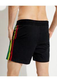 PALM ANGELS - Czarne szorty z bawełny. Kolor: czarny. Materiał: bawełna. Wzór: aplikacja, kolorowy
