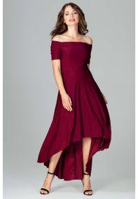 Czerwona sukienka Katrus z odkrytymi ramionami, maxi