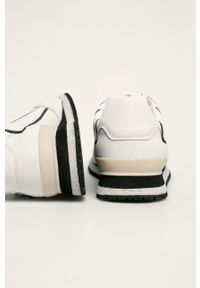 Białe sneakersy Guess Jeans na sznurówki, z okrągłym noskiem