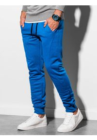 Ombre Clothing - Spodnie męskie dresowe joggery P867 - niebieskie - XXL. Kolor: niebieski. Materiał: dresówka