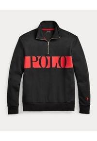 Ralph Lauren - RALPH LAUREN - Czarna bluza z logo. Typ kołnierza: polo, bez kaptura. Kolor: czarny. Materiał: tkanina. Długość rękawa: długi rękaw. Długość: długie. Wzór: nadruk, haft