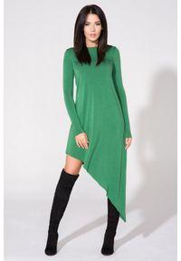 Tessita - Zielona Sukienka Asymetryczna Dzianinowa z Długim Rękawem. Kolor: zielony. Materiał: dzianina. Długość rękawa: długi rękaw. Typ sukienki: asymetryczne