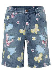 """Szorty dżinsowe z przetarciami bonprix niebieski """"stone"""" w roślinny wzór. Kolor: niebieski. Wzór: kwiaty, nadruk, aplikacja"""