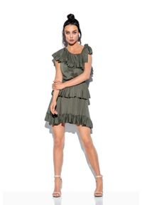 Lemoniade - Zwiewna Sukienka Wiązana na Jedno Ramię - Khaki. Kolor: brązowy. Materiał: wiskoza, elastan