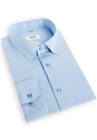 VEVA - Męska Koszula w Błękitne Paski. Typ kołnierza: kołnierzyk klasyczny. Kolor: niebieski. Materiał: materiał. Długość: długie. Wzór: paski