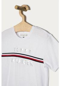 Biała bluzka z krótkim rękawem TOMMY HILFIGER z aplikacjami, na co dzień, krótka, casualowa
