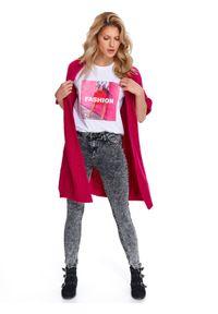 Różowy sweter TOP SECRET casualowy, na co dzień, długi, w kolorowe wzory