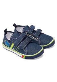 UNDERLINE - Trampki dziecięce Underline 66A19115 Granatowe. Zapięcie: rzepy. Kolor: niebieski. Materiał: guma, tkanina, skóra #4