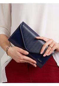 Niebieska kopertówka ROVICKY na ramię, skórzana, wizytowa