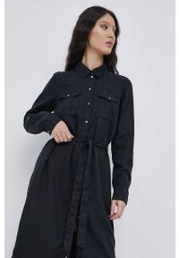 Vero Moda - Sukienka. Okazja: na co dzień. Kolor: czarny. Materiał: tkanina, jedwab, materiał, lyocell. Wzór: gładki. Typ sukienki: proste. Styl: casual