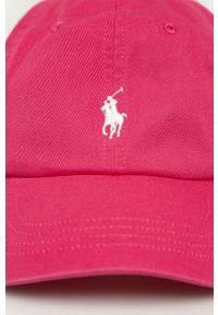 Różowa czapka z daszkiem Polo Ralph Lauren gładkie