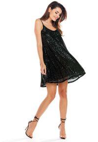 Czarna sukienka wizytowa Awama na ramiączkach