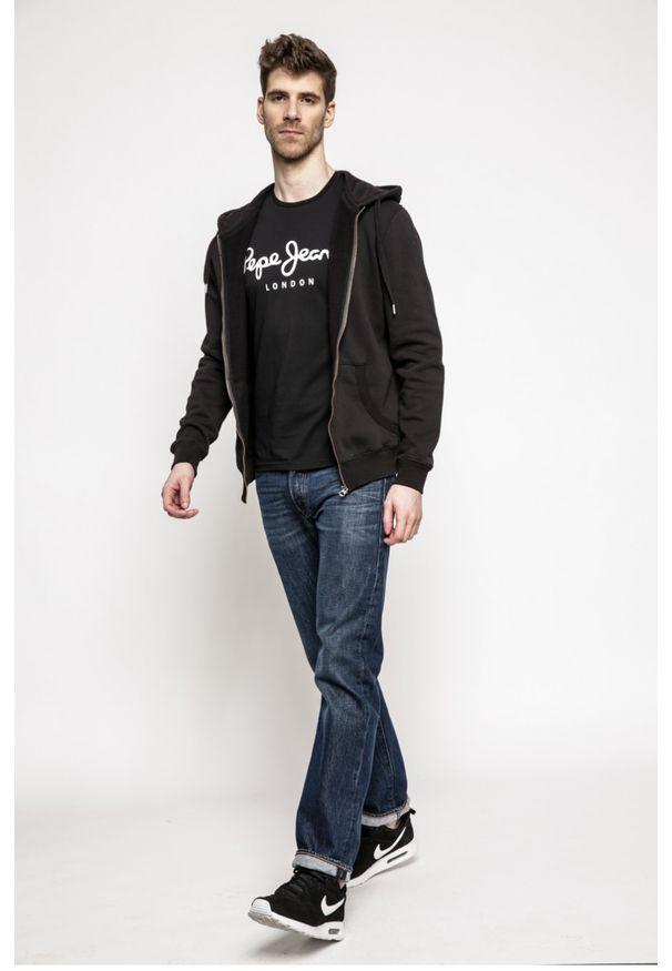 Czarna bluza rozpinana Pepe Jeans z kapturem, casualowa, na co dzień