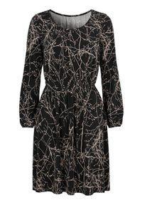 Czarna sukienka Cellbes z okrągłym kołnierzem, z długim rękawem, casualowa, na co dzień