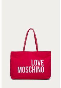 Różowa shopperka Love Moschino z aplikacjami, z aplikacjami, na ramię