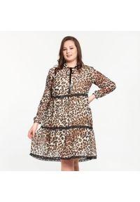 Sukienka dla puszystych Moda Size Plus Iwanek z motywem zwierzęcym, do pracy