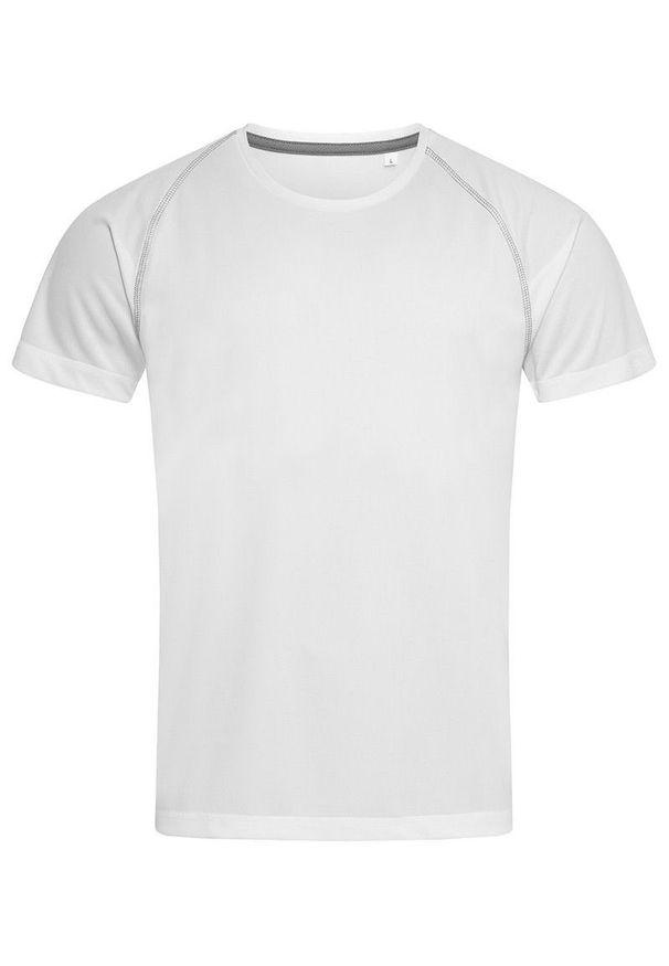 Stedman - Koszulka T-shirt, Biała, Sportowa, ACTIVE-DRY Poliester, Raglanowe Rękawy. Kolor: biały. Materiał: poliester. Długość rękawa: raglanowy rękaw. Styl: sportowy