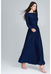 Niebieska sukienka Figl maxi