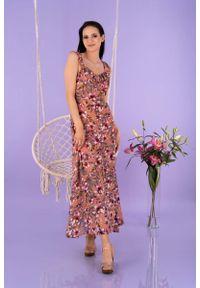 Merribel - Maxi Sukienka w Kwiaty na Ramiączkach -. Materiał: poliester. Długość rękawa: na ramiączkach. Wzór: kwiaty. Długość: maxi