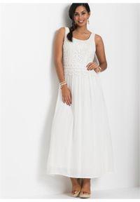 Sukienka z koronką bonprix biel wełny. Kolor: biały. Materiał: koronka, wełna. Długość rękawa: bez rękawów. Wzór: koronka. Długość: maxi