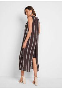 Sukienka szyfonowa bonprix ciemnobrązowo-biel wełny w paski. Kolor: brązowy. Materiał: szyfon, wełna. Wzór: paski