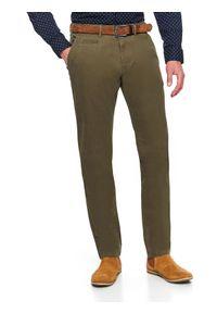 Brązowe spodnie TOP SECRET na wiosnę, w kolorowe wzory