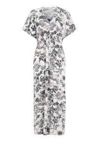 Cellbes Wzorzysta sukienka z tkaniny we wzory female ze wzorem 54/56. Typ kołnierza: dekolt w serek. Materiał: tkanina. Długość rękawa: krótki rękaw. Styl: elegancki. Długość: maxi